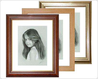 Dibujos carboncillo cuadros enmarcados con paspart for Fotos para cuadros de salon