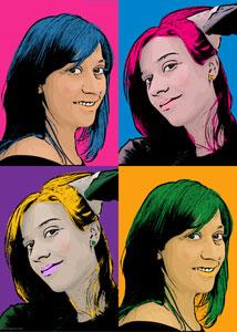 Regalo: Un Andy Warhol 2 personas 4 viñetas Impreso en un lienzo con bastidor de 50x70 cm Normal