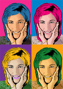 Regalo: Un Andy Warhol 1 persona 4 viñetas Vertical Impreso en un lienzo con un bastidor para alguien de aizoain