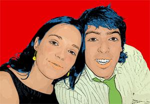 Regalo: Un Pop Art Comic 2 personas Impreso en un lienzo con un bastidor para alguien de Madrid