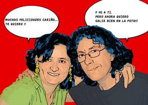 Regalo: Un Pop Art Comic 2 personas Impreso en un lienzo con bastidor para alguien de Terrassa