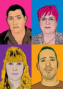 Regalo: Un Andy Warhol 4 personas 4 viñetas Vertical Impreso en papel brillo para alguien de caspe