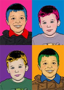 Regalo: Un Andy Warhol 2 personas 4 viñetas Vertical Impreso en un lienzo con un bastidor para alguien de L´Hospitalet de Llobregat