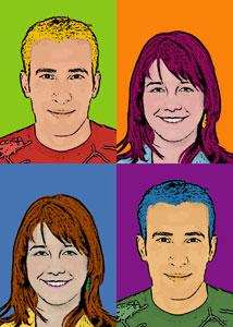 Regalo: Un Andy Warhol 2 personas 4 viñetas Impreso en Madera Flotante para alguien de Aspe