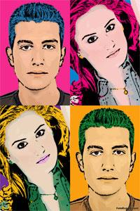 Regalo: Un Andy Warhol 2 personas 4 viñetas Vertical Impreso en un lienzo con un bastidor para alguien de ALICANTE