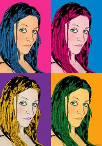 Regalo: Un Andy Warhol 2 personas 4 viñetas Vertical Impreso en un lienzo con un bastidor para alguien de Vitoria