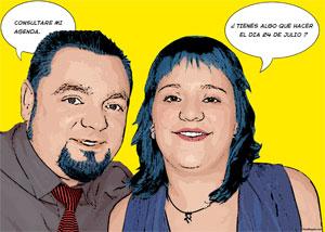 Regalo: Un Pop Art Comic 2 personas Impreso en un lienzo con un bastidor para Vigo