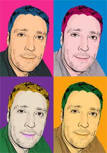 Regalo: Un Andy Warhol 1 persona 4 viñetas Impreso en un lienzo con bastidor para alguien de monterroso