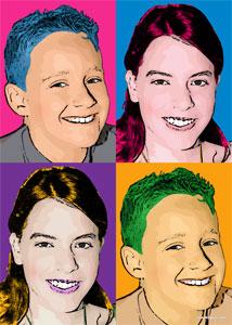 Regalo: Un Andy Warhol 2 personas 4 viñetas Vertical Impreso en un lienzo con un bastidor para alguien de ILLESCAS