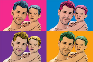 Regalo: Un Andy Warhol 2 personas 4 viñetas Vertical Impreso en un lienzo con un bastidor para alguien de valdemoro