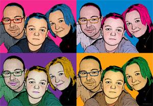 Regalo: Un Andy Warhol 4 personas 4 viñetas Vertical Impreso en un lienzo con un bastidor para alguien de Vilafranca del Penedès