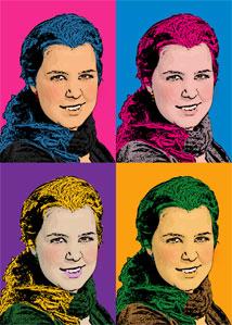 Regalo: Un Andy Warhol 1 persona 4 viñetas Vertical Impreso en un lienzo con un bastidor para alguien de HOSPITALET DE LLOBREGAT