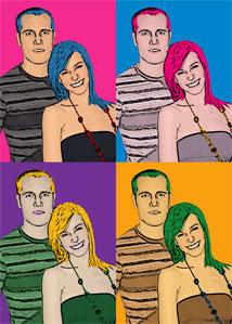 Regalo: Un Andy Warhol 2 personas 4 viñetas Impreso en un lienzo con bastidor para alguien de zizur mayor