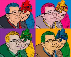 Regalo: Un Andy Warhol 2 personas 4 viñetas Foto lienzo Eco Rectangular 40x50