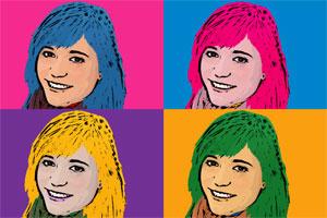Regalo: Un Andy Warhol 1 persona 4 viñetas Foto lienzo Eco Rectangular 30x45