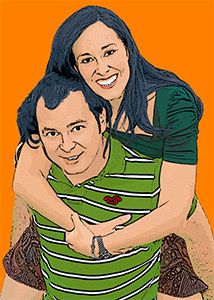 Regalo: Un Pop Art Comic 2 personas Impreso en un lienzo con bastidor para las rozas