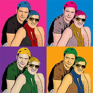 Regalo: Un Andy Warhol 2 personas 4 viñetas Foto lienzo Eco Cuadrado 90x90